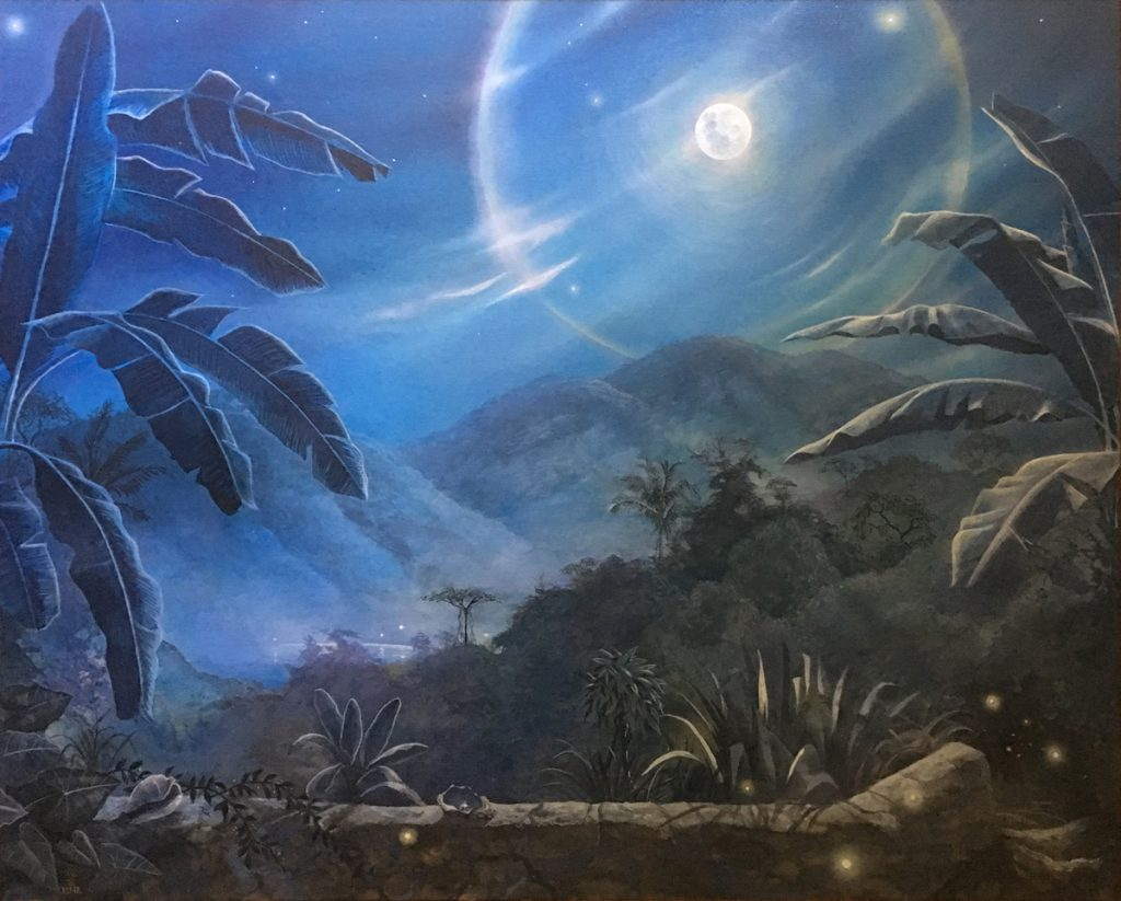"Nicolai Larsen, ""Moonlight in the Tropics"", acrylics on canvas, 39"" wide x 31"" tall, $2500.    THE WINDOWS OF MY WORLD HAVE NO GLASS    THEY ARE PORTALS, EVOCATIONS OF THE SPIRIT    THE SUN, MOON, AND LAPPING WAVES ARE CLOSE ENOUGH TO TOUCH    THE WINDS DIVIDE THE HEAVENS    THE CLOUDS MOVE AS A BREATH    WE WALK IN THE FOOTPRINTS OF OUR ANCESTORS ON THE SANDS OF TIME"