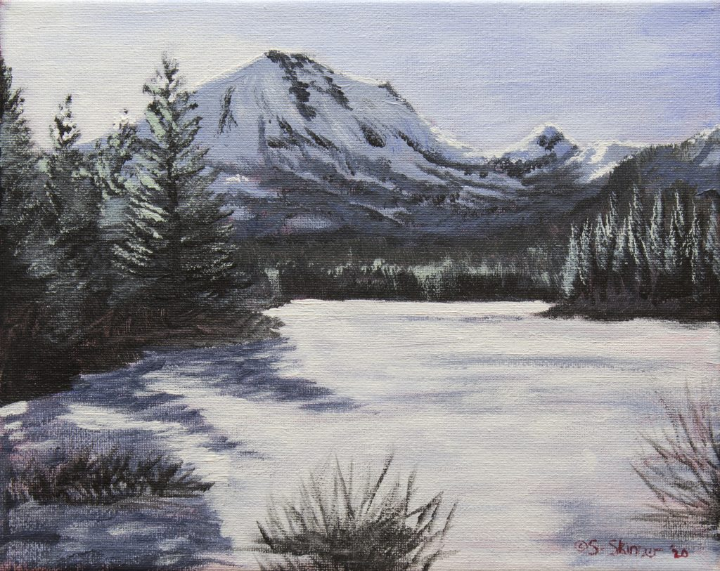 "Sarah Skinner	(Durham, CA), ""Manzanita Lake Indoor Plein Air"", acrylic on canvas, 8""x 10"", $80.  Before the world shut down I had been planning to take up plein air painting, that is, painting outdoors from life. With social distancing requirements in place, my plans changed. I painted this from the webcam at Manzanita Lake in Lassen Volcanic National Park on the first day of the statewide lockdown in California, using an ""alla prima"" (all at once) style."