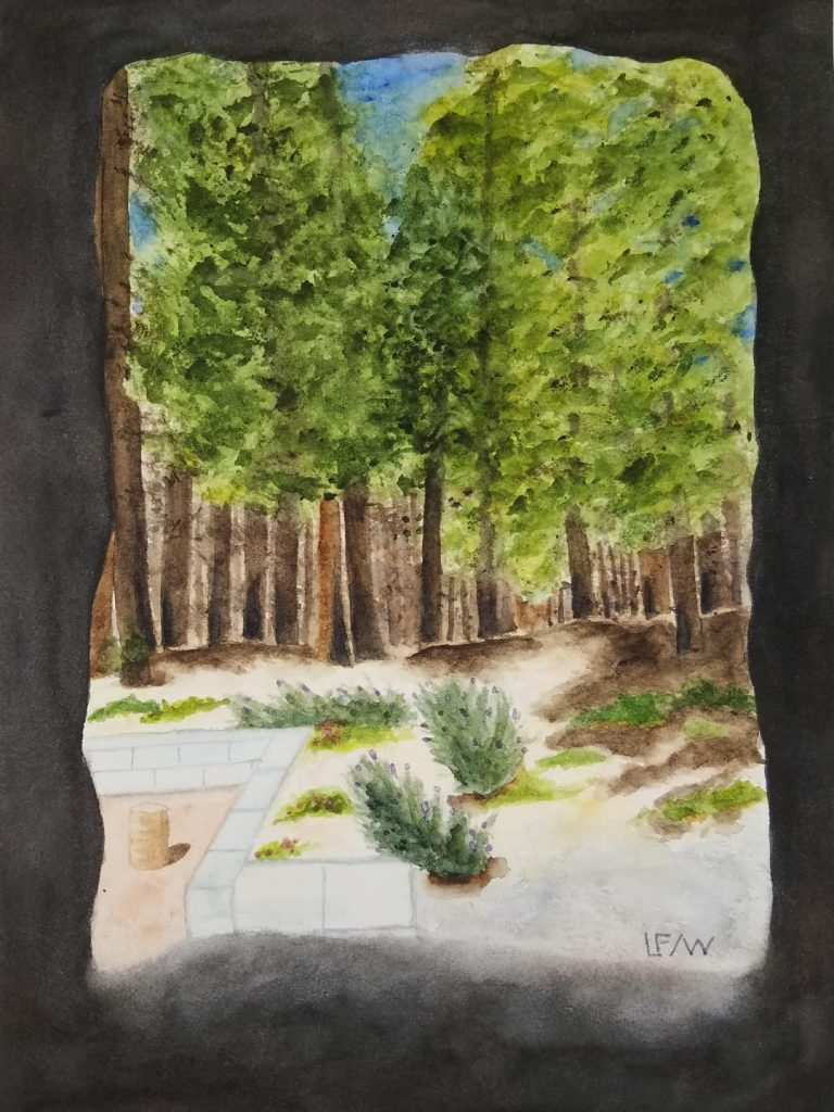 "Lisa	Freeman-Wood,	(Magalia, Ca), ""View From the Cave"", watercolor, NFS.    My view from my desk, in my studio, in my house. In 2018, for 10 days I did not know if I still had a house, a studio, a desk. The area I lived in was engulfed by the Camp Fire of Paradise, CA. But my house still stands. Some of the trees on our property burned, the houses and forest around us did. I look at the burn marks on tree trunks every day, but I also see new green growth of native peas and volunteer lavender. Life moves forward. This new challenge of Covid 19 and the enforced isolation most of humanity is dealing with, social distancing, does not have to be limiting. As Jerry Saltz wrote in an article on how the coronavirus will transform the art world said,"" Creativity was with us in the caves; it's in every bone in our bodies."" Keeping in touch with the way people are turning to creative endeavors is fascinating, embroidery, baking, reenacting famous paintings, singing, dancing, playing music… forced to turn inward we search for those creative bones we all have. Creativity has been undervalued for a long time. It is going to be a fascinating new world to emerge to when we do finally come out of our caves."