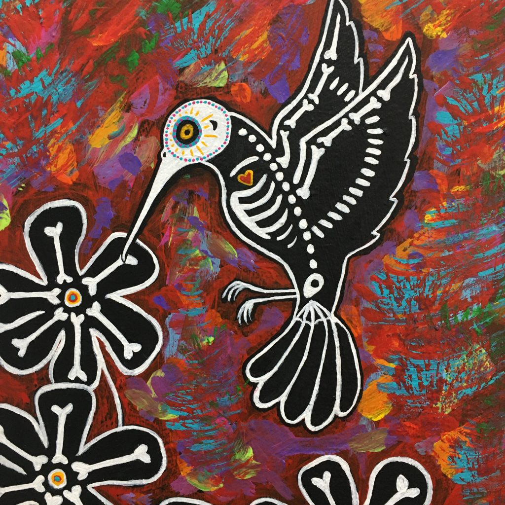 "TEAL BUEHLER, ""Hummingbird"", acrylic on canvas, $130."