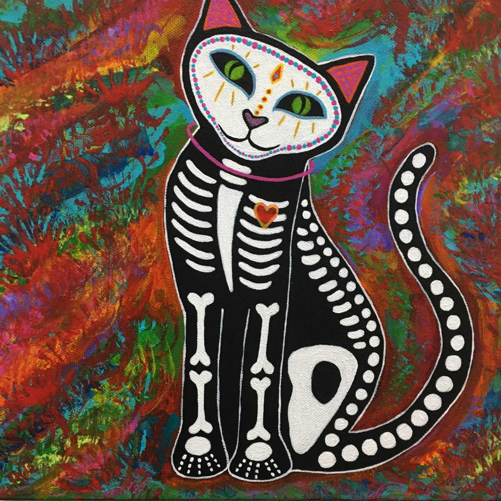 "TEAL BUEHLER, ""Cat"", acrylic on canvas, $150."