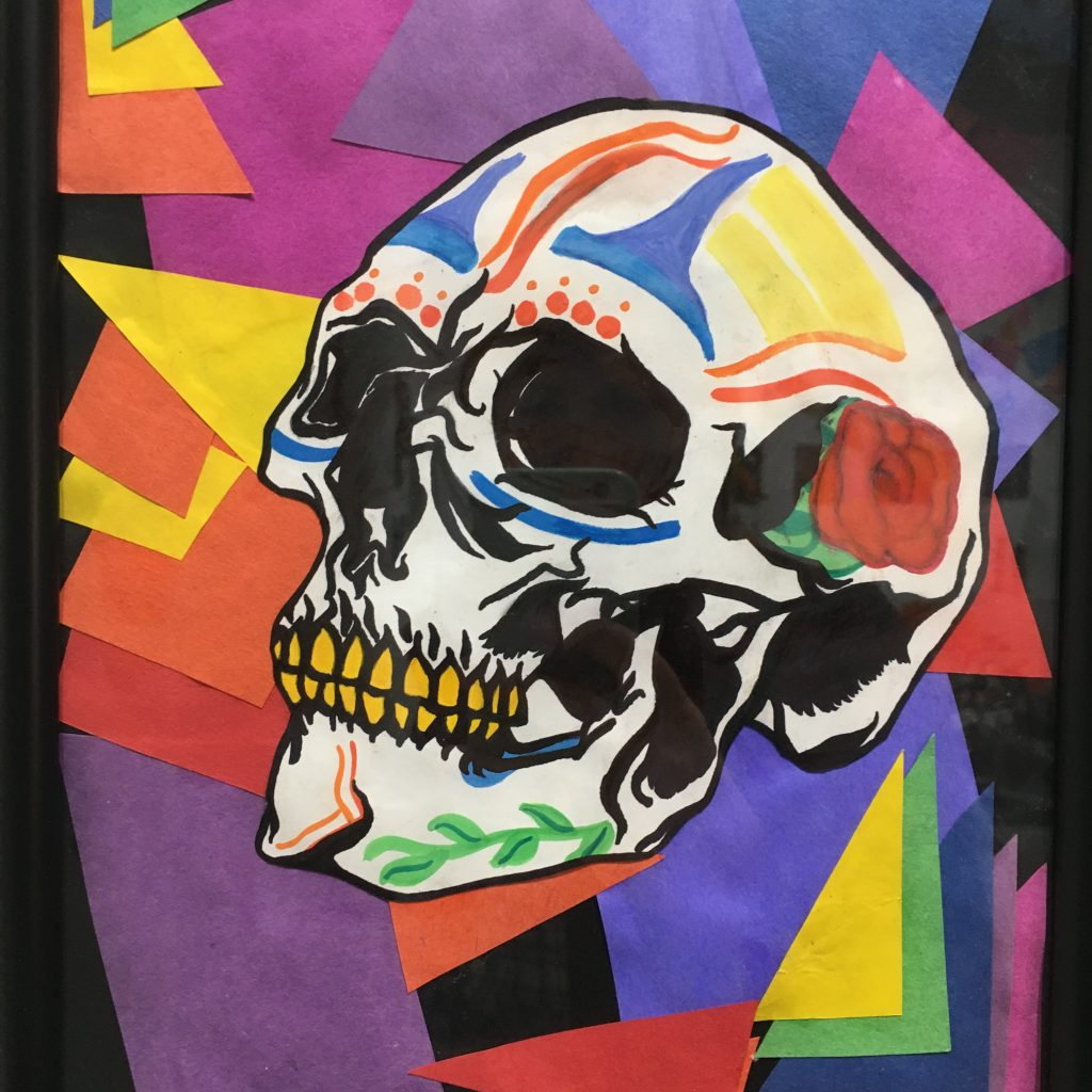 "LEILANI SILVERMAN, ""Dia De Los Muertos"", charcoal, sharpie, watercolor, $25."