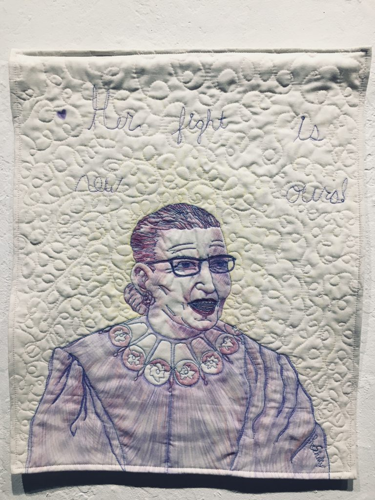 "REBECCA SHELLY, ""Her fight is now ours!"", colored pencil, spray fixitive and thread on fabric,   $600."