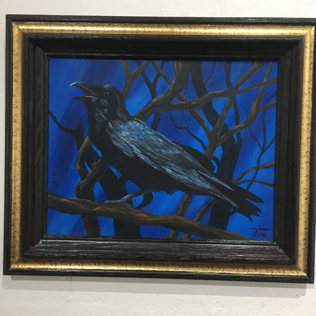 "JIM LAWRENCE, ""The Raven"", acrylic on canvas, $200.  I had a friend in high school who people would describe as ""dark"" or just ""weird"". I went to a catholic school and he was the only person of color that attended that school. We called him ""The Raven"". He was really a very sensitive person and sadly did eventually die of an overdose. Life is not fair."