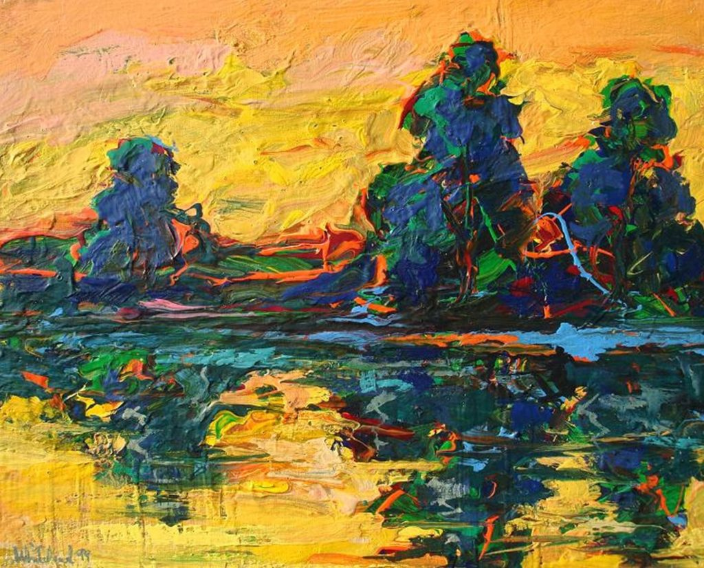 "Richard Whitehead	""Sacramento River"", acrylic on canvas, 24""x30"", $800.	Freely painted acrylic interpretation of a view of the Sacramento River."