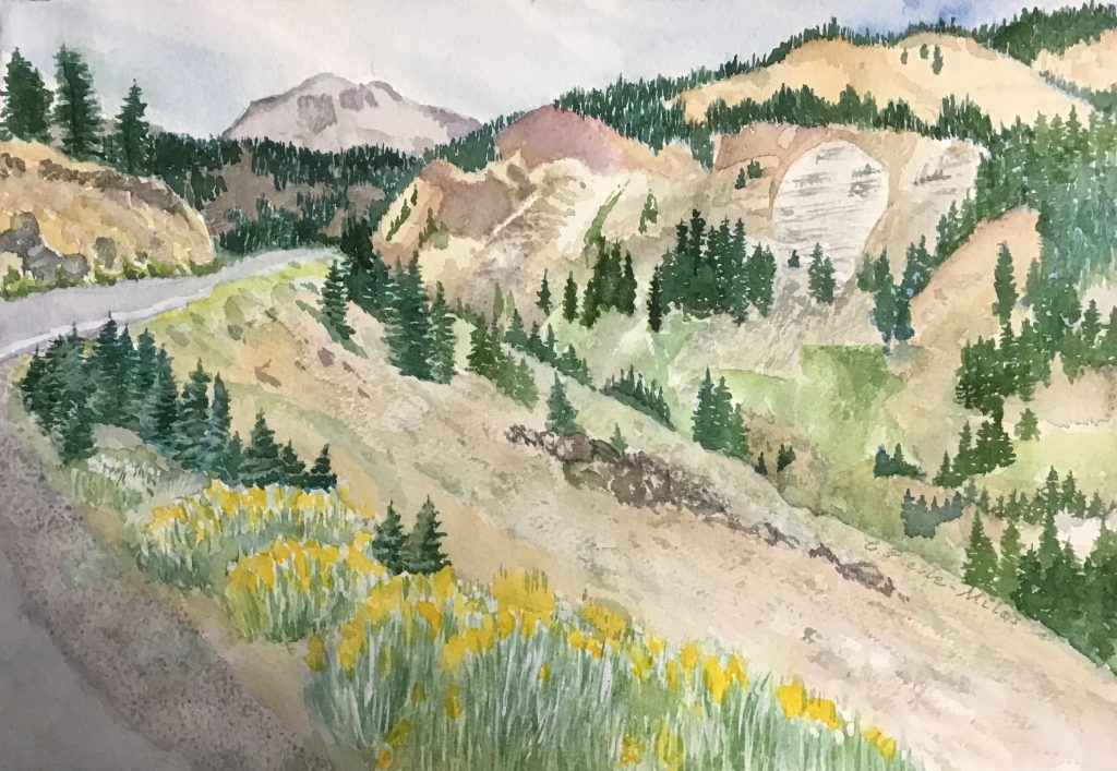 "Carol Preble-Miles, ""Summer Trip to Lassen Volcanic"", Giclee Print of Transparent Watercolor, 15 x 11"", $190."