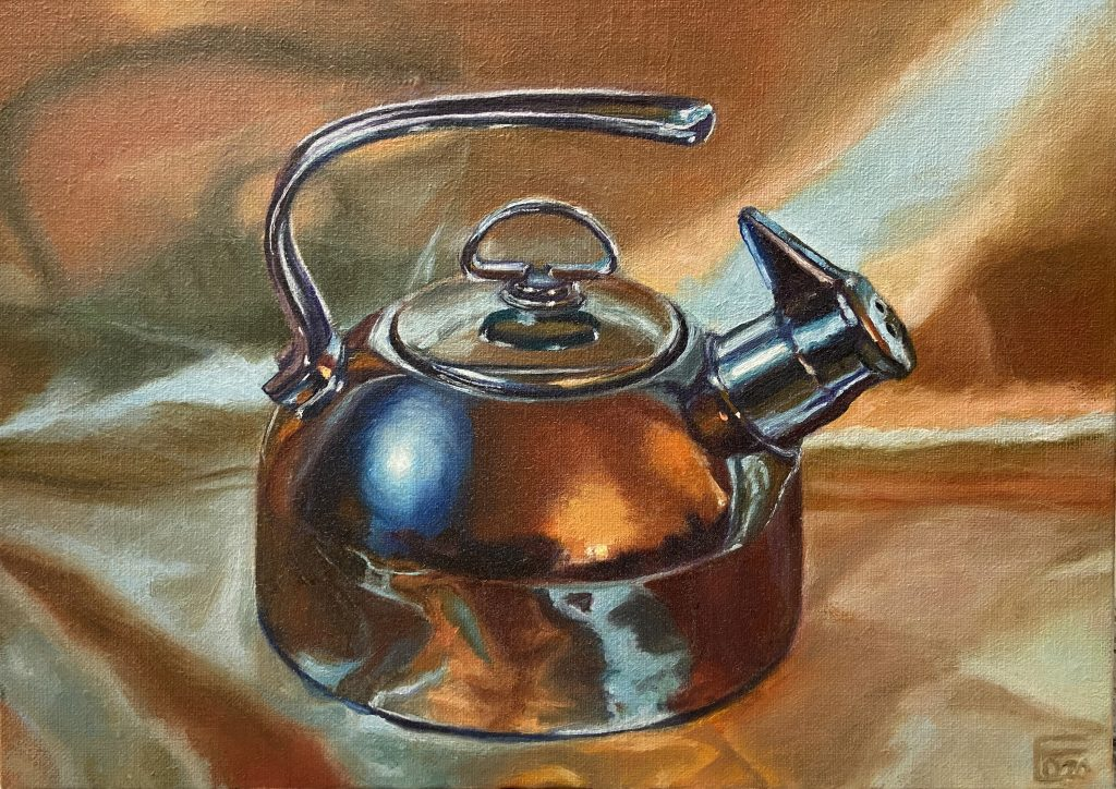 "Elaine Davis, ""Put the Kettle On...Yellow Satin"", oil on panel, 9""x12"", $650.	I enjoy amplifying and examining the objects and scenes of everyday life, as well as studying the human face and figure. To me, they are all worthy of more than a moment's look."