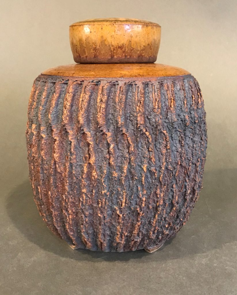"Bill Flake, Lidded Vessel, High-fire stoneware, 8 1/2"" x 6 1/2 "", $165."