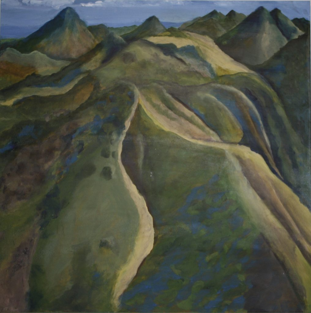 "Gitta	Brewster, ""Sutter Buttes Flyover"", Acrylic on canvas, 36x36"", $500."