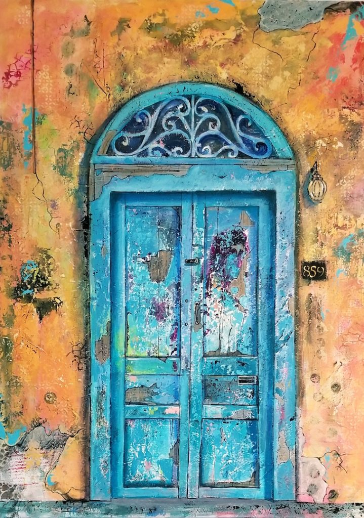 "Reta	Rickmers, ""Blue Door"", acrylic on canvas, 36x48"", $900.	I've been enjoying working big. This is my 3rd 36x48 door painting inspired by my trip to Merida, Yucatan. I love the layers of history hidden in the paint."