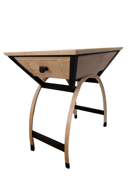 "Richard Lea, Arch Side Table; 2 drawers, 15"" wide, 24""long, 27""high; maple, wenge (80 hours to complete); $1600.	My lifelong passion has been to design and build one-of-a-kind pieces of furniture and accessories that are pleasing to the eye and will last for generations."