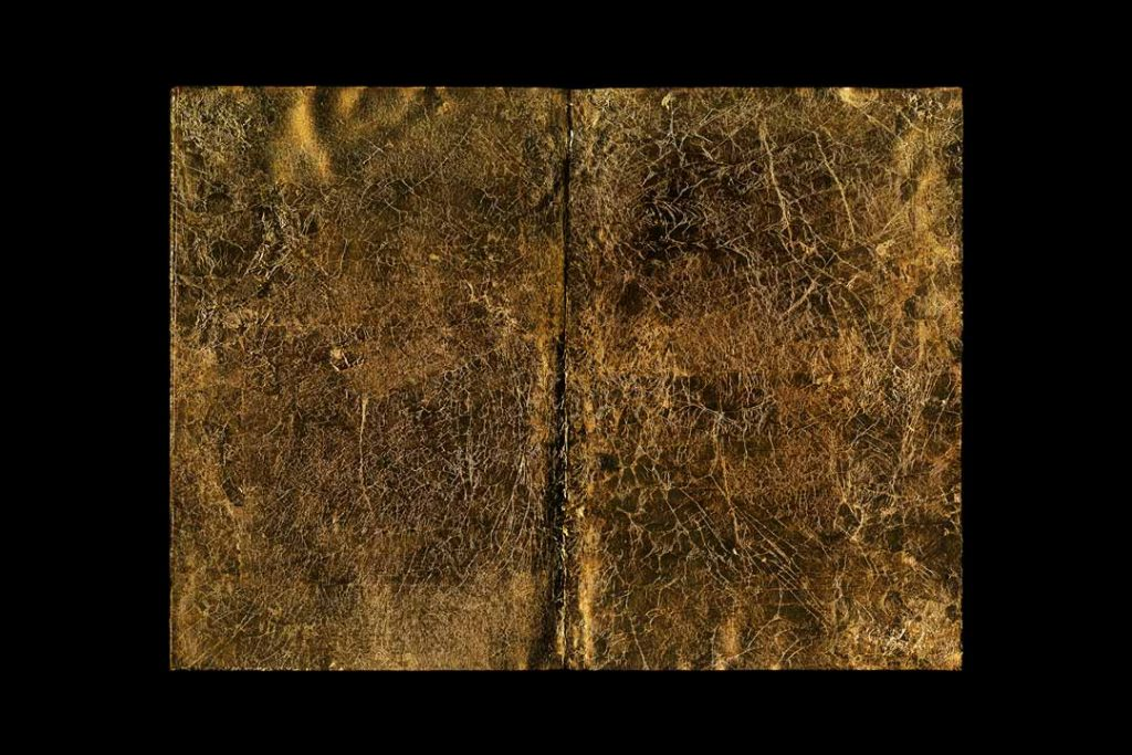 """Roger Boulay, A Confederacy of Dunces, 2016, Archival inkjet print, 30x40"""", $1,000.  I use books to investigate notions of instability and erasure. For this piece, I """"erased"""" the book's content with gold leaf. I was interested in replacing the potential value of the text of the book with a particular material that connotes value. Yet, how much gold begins to connote tastelessness or a lack of value? The economic value of cultural production such as fiction has become increasingly unclear as print media begins to disappear."""