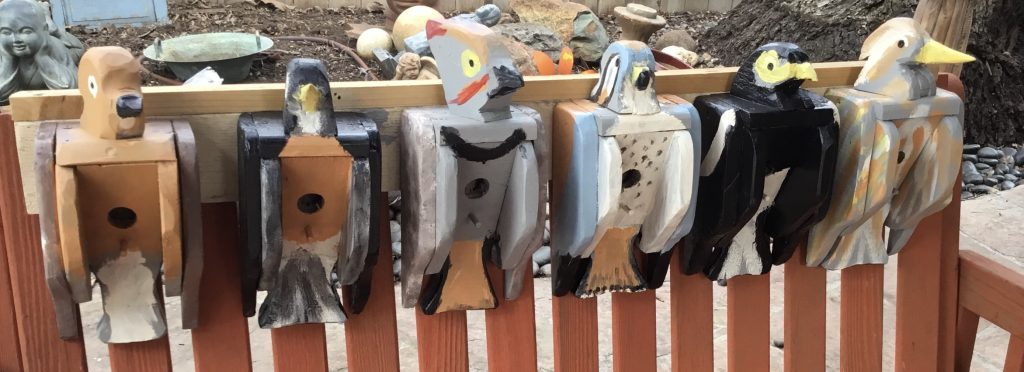 "Bruce Dillman, Bird themed birdhouses, 2020, Sizes: 5""W x 12""H x 4""D (not for sale)"