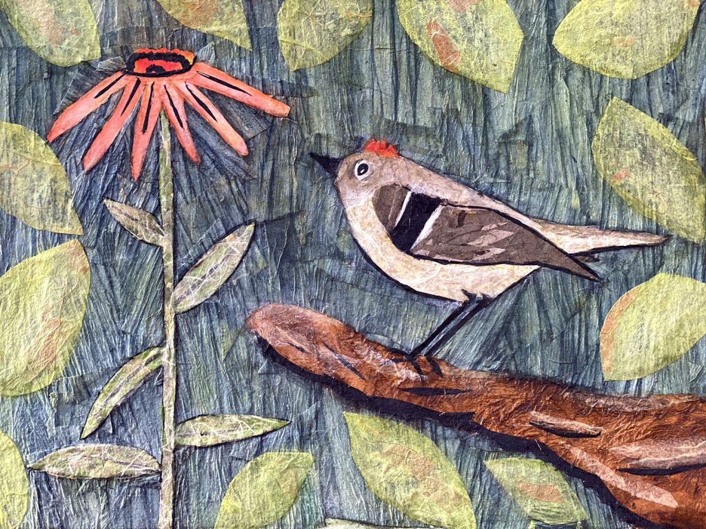 "Christine Connerly, Ruby Crowned Kinglet, 2020, collage, 11""X14"", $225"