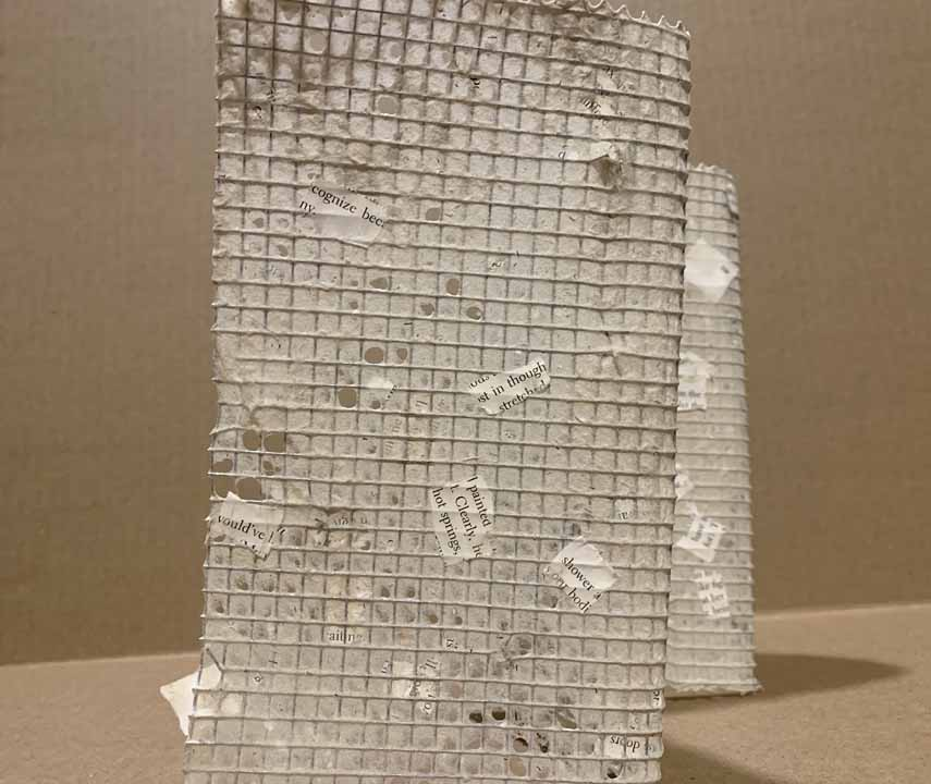 "Stephanie Damoff, Eviscerated Reality, 2021, paper, wire mesh, 13"" long, 8-1/2"" high, 5"" deep, $300.  This accordion book is made of hardware cloth and handmade paper—hemp and pulped pages from a damaged copy of The Savage Detectives by Roberto Bolaño. The novel is an account of the two elusive leaders of the visceral realism school of poetry and tracks their adventures in Mexico City and Europe. The two seem to spend more time scoring marijuana to sell than writing poetry. One narrator, an aspiring young poet, who seeks to tell the story through journal notes spends his time stealing books and pursuing women. The pulped pages—the viscera of the text—are caught by the metal frame and reconstituted into a sculptural artist book. The surviving fragments of the original text form concrete poetry that can be read according to the choice of the reader or in an act of bibliomancy: ""end/meant/something/in and ourselves/silent/and yet,/have/but/discovered that/would've/with my/multiplying/complete/resigned/possible"" is one reading."