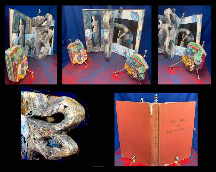 "Tony Gangitano, Magic of Sculpture: A Child's Perspective, 2020, Digital Photo of Original Altered Book Sculpture, 16"" x 20"", $900.  Children (constructed from children's books) who are viewing a towering biomorphic abstract sculpture, constructed from pages. Both incorporate Metallic Antenna representing enhanced communication.    The conceptual emphasis is on the value of exposing children (or the child within adults), to Art, thereby promoting visual and mental understanding of the Elements of Art such as: Shape, Texture, Color, and Materials, and to stimulate the emotions and imagination."