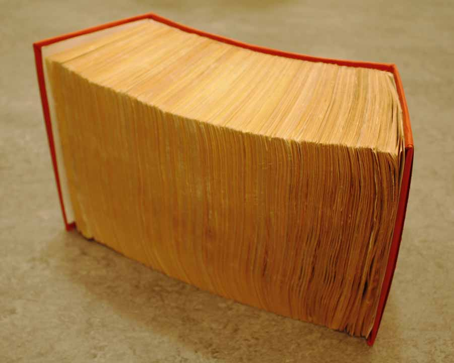 Jeffrey Glossip, MegaBook Project, 2005-8, Paperback books, about 8x5x16 inches (variable). NFS.  MegaBook Project is a work that consists of nine bestseller paperback books. The books have been unbound, combined, shuffled, then rebound. The concept of the Megabook Project is the opening of an infinite system from finite sources, As books are subsumed, they lose any intrinsic meaning they were meant to convey. It is impossible, for example, to follow any narrative for more than one page. Thus, the whole of the information contained in the Megabook is preserved but not retrievable.