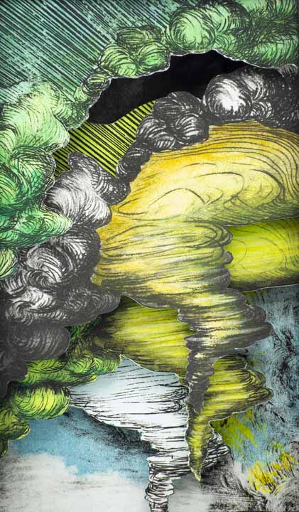 """Raluca Iancu, Tornadogenesis (detail), 2020, Tunnel book with drypoint, monotype, hand tinting, 7.5"""" x 4.75"""" x 1.4"""", $500.  My work explores disaster, memory and vulnerability. I question the way we look at tragedy, as well as the way we deal with its aftermath. This artist book presents the beginning of a storm. It can be interpreted as a time lapse, or as multiple simultaneous tornadoes."""