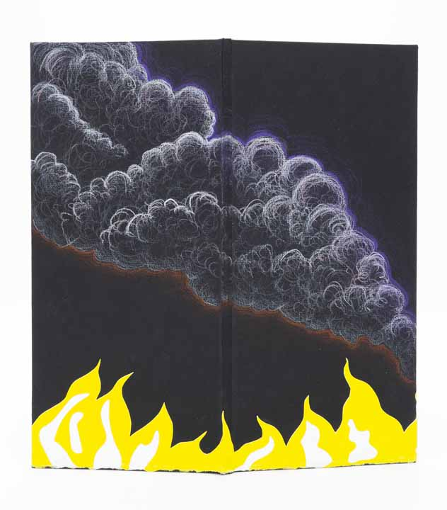 "Raluca Iancu, The Sky Glows Orange (cover), 2020, carousel book with monotype, drawing, cut paper, 11.5"" x 5.45"" x 1"" (closed), $500.  This work was made in response to the destructive events of 2020, both literal (fires in California and Australia), as well as metaphorical (the Covid-19 pandemic, the rising antagonism in politics in the United States)."