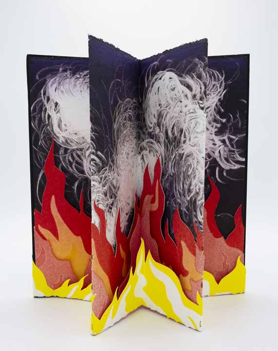 "Raluca Iancu, The Sky Glows Orange, 2020, carousel book with monotype, drawing, cut paper, 11.5"" x 5.45"" x 1"" (closed), $500.  This work was made in response to the destructive events of 2020, both literal (fires in California and Australia), as well as metaphorical (the Covid-19 pandemic, the rising antagonism in politics in the United States)."