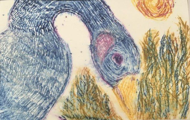 "Judy Kane, Blue Goose, 2021, monoprint, 5"" x 7"", $40"