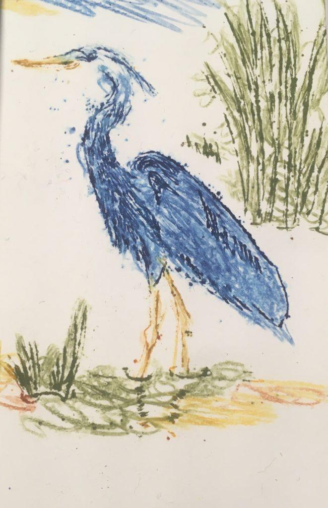"Judy Kane, Blue Heron, 2021, monoprint, 5"" x 7"", $40"