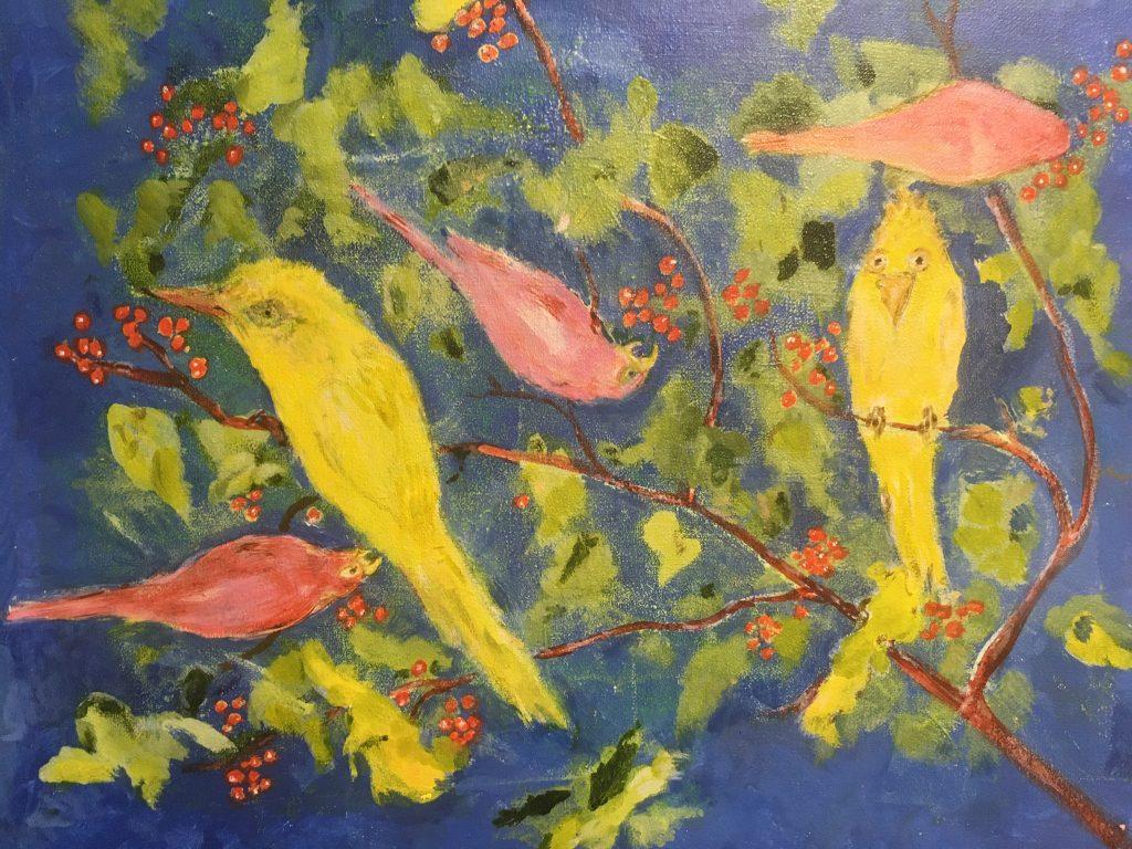 "Judy Kane, Berry Worry Bird, 2021, acrylic, 5"" x 7"", $350"
