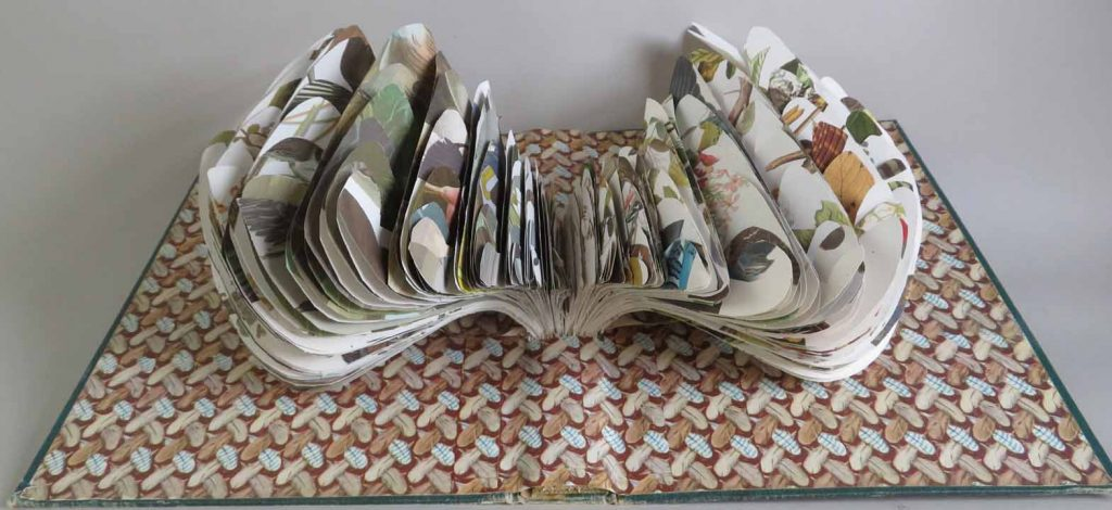 "Jana Lawton, What A Lark, 2021, Book, 20""x12""x4"", $200 donation to Butte Environmental Council.  An old edition of John James Audubon's Birds of America was my source of inspiration for this altered book. Audubon's love of nature, his interest in birds, and his artistic skill were the driving forces behind this pictorial record of all the bird species of North America. I enjoyed studying and handling each page as I clipped them in the service of art to make each feather. The wings of the horned lark in flight is my new creation."
