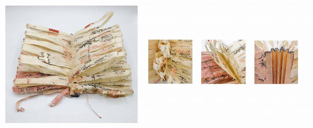"""Locus Xiaotong Chen, The Blossom, 2019-2020, Japanese book pages, woodcut printing, monofilament, light-weight paper tape, paper, beads, embroidery, 11"""" x 8"""" x 6"""" (fully open), $3,200.  Found materials have been a major element in my artwork. Antique, used, aging and repurposed materials are sensitive. They carry their intrinsic history and memory within the physicality, which allows me to manipulate differently in aware of their intrinsic history and qualities. I am immediately intrigued when the materials are in the state of aging or decay. The use of repurposed materials is my understanding on reclamation of the environment and humanity. The choice of using the repurposed materials is driven by the empathy for the materials, thus the nature and the environment whom created the materials; the action is to salvage under an anthropomorphic psyche. I annotate the traces of decay with my edits, thus new memories and timeline are added to the materials.    The Blossom (2019-20) is a sculptural concertina made of antique Japanese calligraphy pages, possibly originally for bookkeeping. Brutal though delicate, the strips of book leaves are supported with inner monofilaments to let air penetrate in-between folded pages, forming shuttle-shaped petals that allow variable displays. Mark-making in embroidery and beads is later added in response to the existed marks on the original pages."""