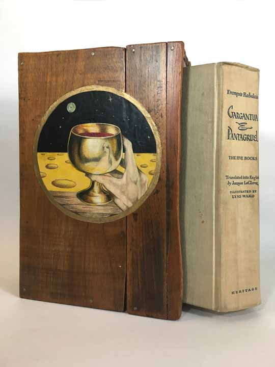 "Nicolai Larsen, ""Panurge & the Quest for the Holy Bottle"" from the book ""Gargantua & Pantagruel"", 1970, Mahogany wood box, Ink, Goldleaf, 11 x 7 inches, NFS.  When I was in art school my friend loaned me his book ""Gargantua & Pantagruel"" a tale about a giant and his son roaming the countryside in France causing comedic chaos . Farmers gave them herds of cattle to eat for dinner. They traveled far and wide searching for the oracle of the Holy Bottle .This classic was written by a 14th century French monk Francois Rabelais. Eventually the cover box wore out so I made a decorative one illustrating one of the stories..."
