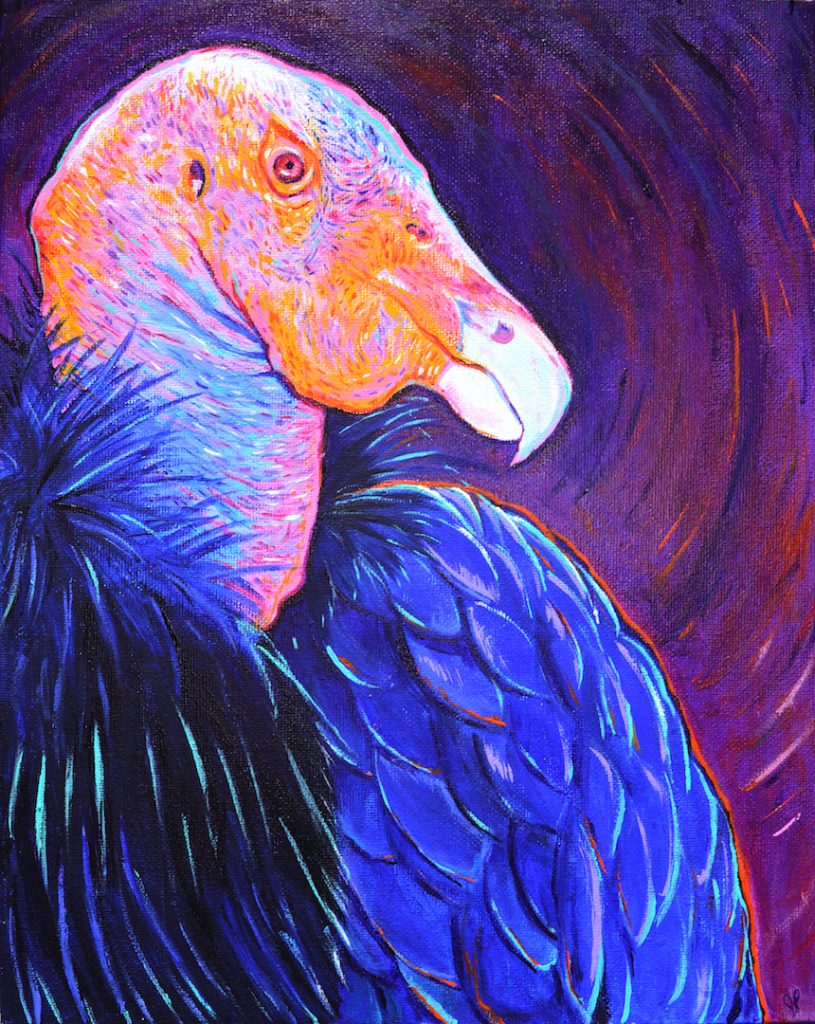 "Jackie Powers, ""California Condor"", 2021, Acrylic on canvas, 11""x 14"", $200."