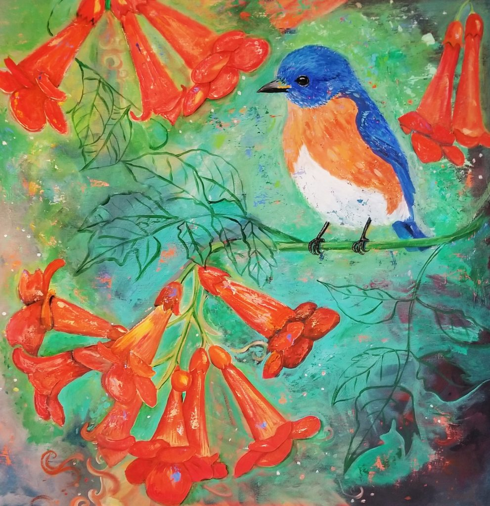 Reta Rickmers, Bluebird in the Trumpet Vines, 2020, acrylic, 36x36, $425.