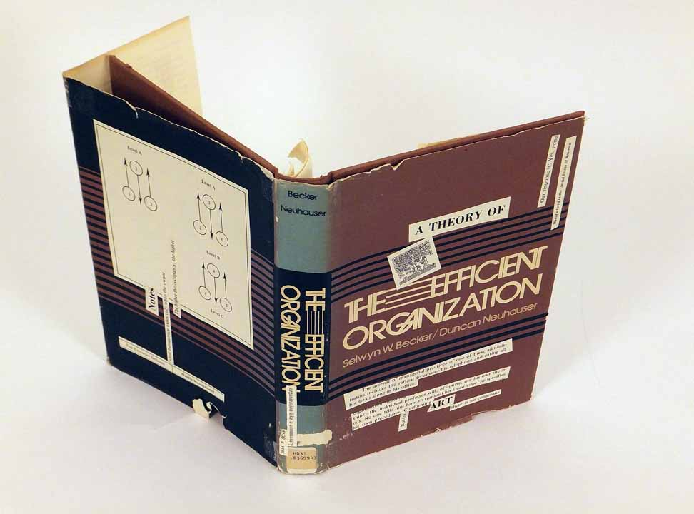 "Steven McCarthy, A Theory of the Efficient Organization, 2016, Mixed media collage, 9.5x13.5"" open, NFS.  All three books are from the larger work Wee Go Library, a mobile cabinet of 22 altered books. (Learn more here: https://faculty.design.umn.edu/mccarthy/WeeGoLibrary.html) The original books were ""harvested"" from Little Free Libraries in Minneapolis–St Paul, Minnesota. Within its cabinet drawer, each book is sourced to the donor library with a small pamphlet that has a pin-pointed map and photos of the library structure and sponsoring house. Various re-mixing techniques were used to enliven the books: collage, rebinding, cutting, folding, tearing and gluing."