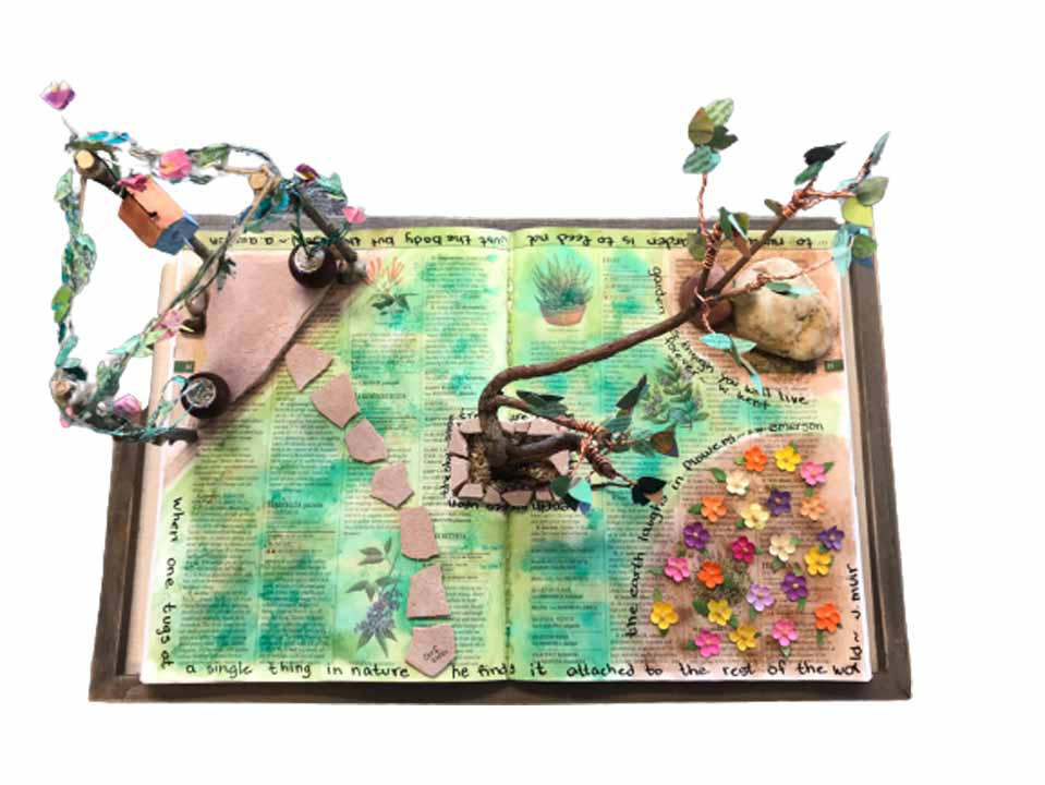 Alice Figueroa, Seeds of Change, 2021, Mixed medium, 12 x 19 inches, $75.  I love to garden. this is what could happen if the gardening book became the garden.