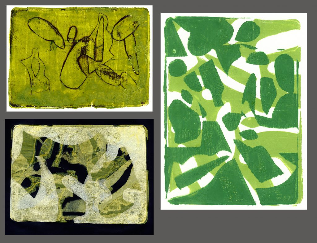 Clockwise from upper left: Henry Moore's Model Piano Bar Eeyore  5 x 7 inches each Gelli plate monotypes using cut paper masks and acrylic paint $75 each