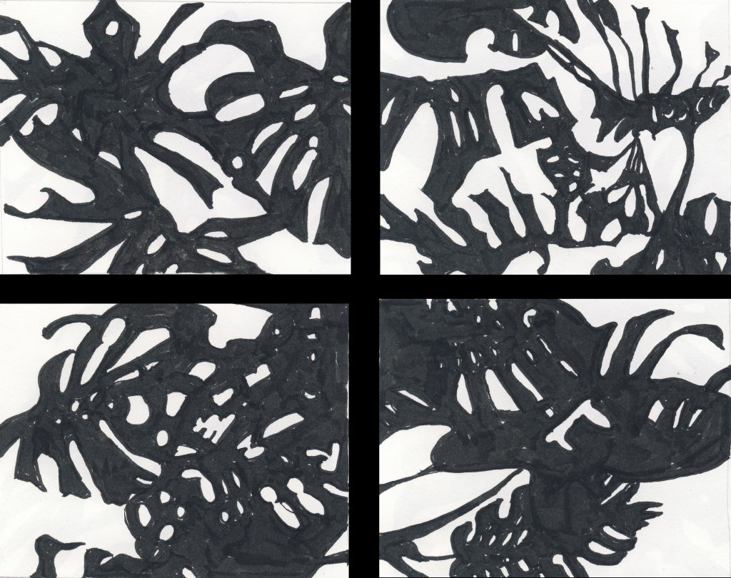 Clockwise from top left: Three Friends at Play And the Shapes Between Duck at a Plant Party Don't Bite 4 x 5 inches each Ink on paper $50 each