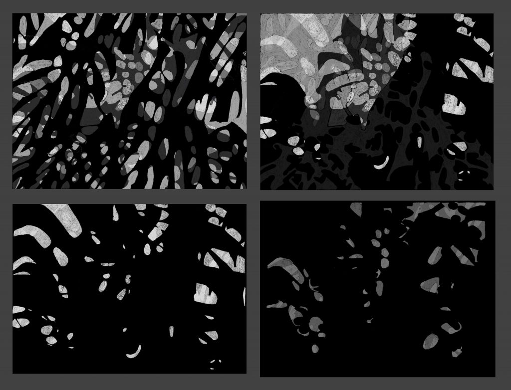 Monochrome Studies Procreate on iPad  In each case, Kay masked part of the design by making adjacent shapes the same tone.  Please inquire for print sizes and pricing.  Maximum size is 28 x 36 inches.