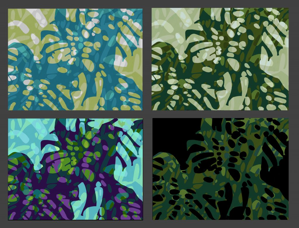 Color Studies  Procreate on iPad  Variations in a similar color range, some masking parts of the design or changing how the multiple shadow shapes are overlaid.  Please inquire for print sizes and pricing.  Maximum size is 28 x  36 inches.