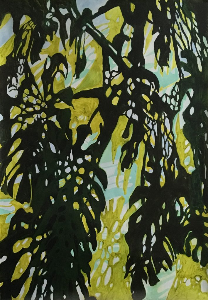 Lace Foliage Silhouette 72  x 48 inches Acrylic paint on paper Not for sale