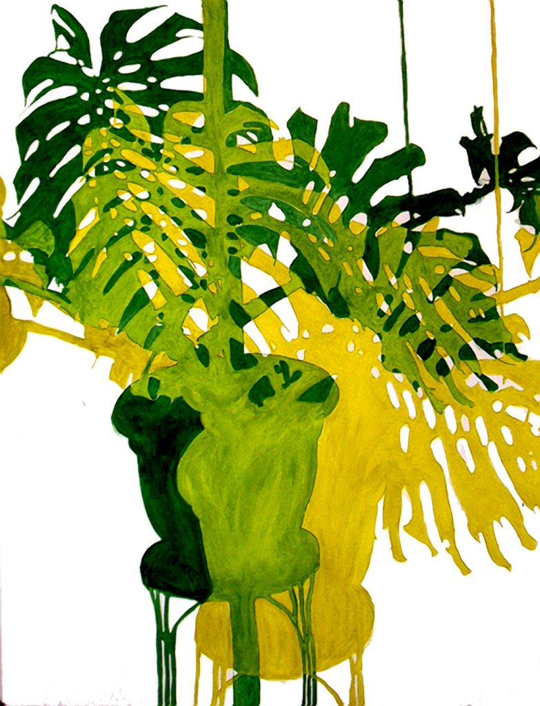 Philodendron Descending 50 x 38 inches Acrylic paint on paper $3000.