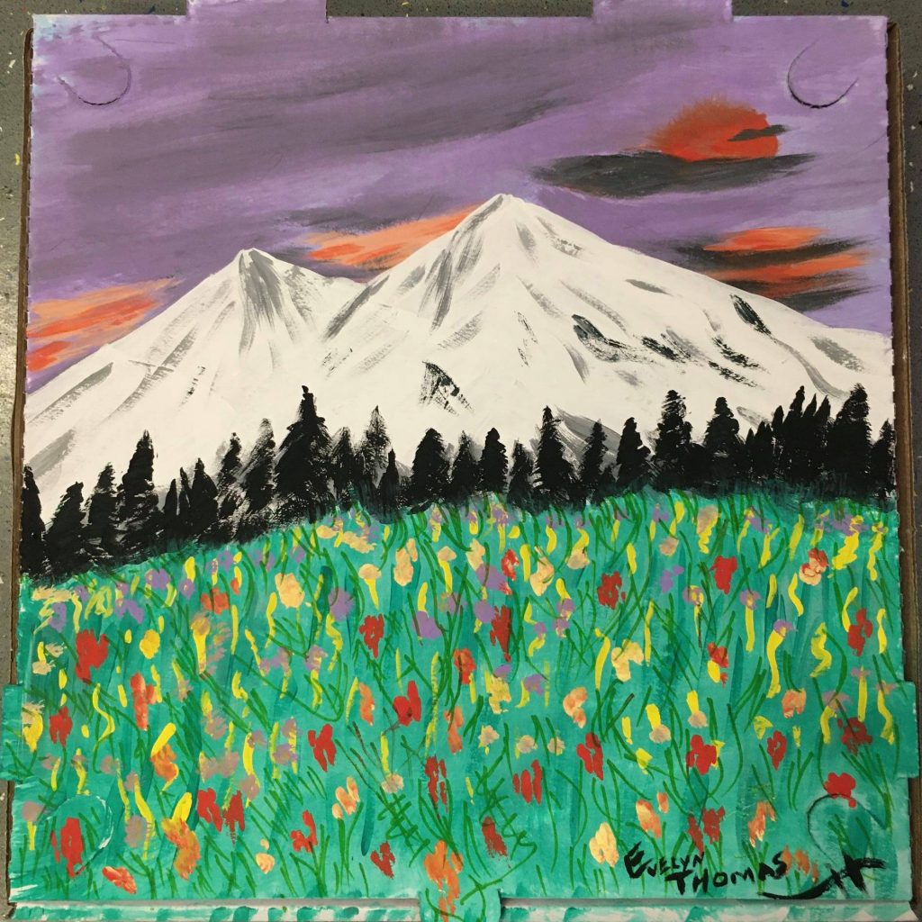 """""""Mt Shasta"""" Paint by Evelyn Thomas"""
