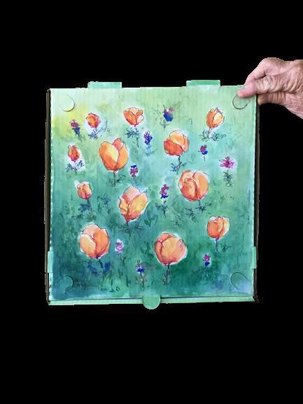 """""""Poppy Pizza"""" - Watercolor by Marvey Mueller"""