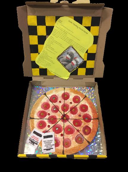 """Sock Monkey Pizza"" - Acrylic and Assemblage by Nancy Beliveau (inside)"