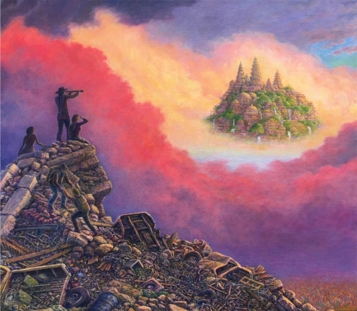 """Mark Henson, """"Lost Horizon"""", 2020, Oil on Hemp, 28 x 32 inches"""