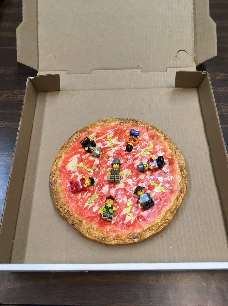 """""""Lego My Pizza"""" - (inside) Acrylic + Mixed Media by Judy Kane"""