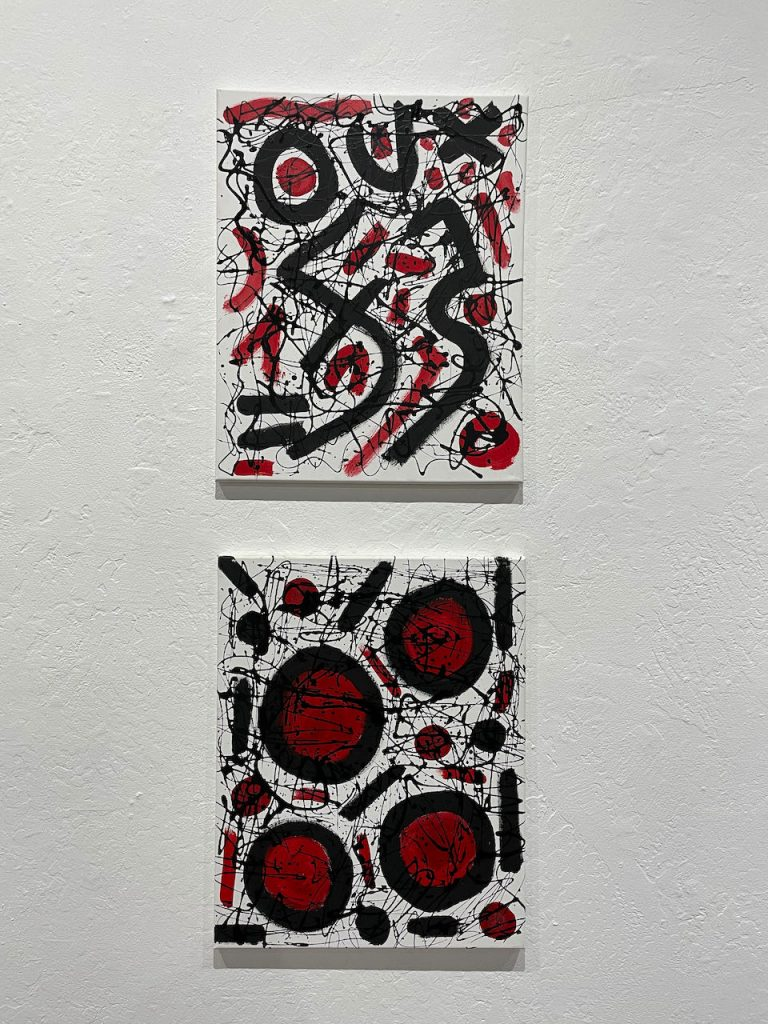 """Timothy Havens, """"Red & Black"""", 2019, $100, """"Ring of Fire"""", 2019 Acrylic on canvas, $100 - Art is a free flow of who we are. Like so many artists, I love to create. But unlike so many artists, I suffer from a hand disability. In the last few years, my hands have developed a tremor. This could have been a breaking point for me, but I wouldn't allow it to be. Instead, my mark making is evolving from steady brushwork to more free form splatters, using tools like chopsticks, squeeze bottles and squeegees to create my artwork. I learned to face adversity as an opportunity for creative problem solving! I won't ever give up, and neither should you."""