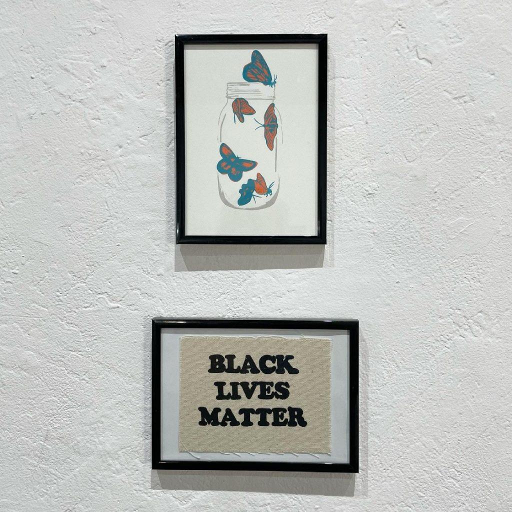 "Marisa Segovia, ""Untitled"", 2021, Screen-print, 6"" x 4"", $25,  ""BLM"", 2020, Screenprint with acrylic inks & BFK paper, $35"