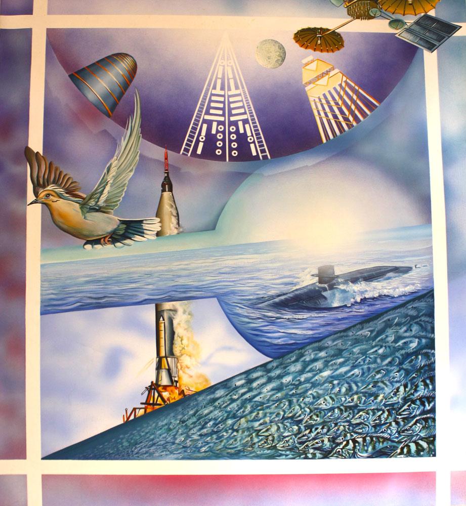 "Gary Graham, Progress-Regress, 1980 acrylic on canvas, 51"" x 47"""