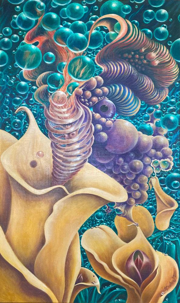 "Margaret Daley, Dew Princess, 1983 acrylic on canvas, 44.5"" x 26.5"""