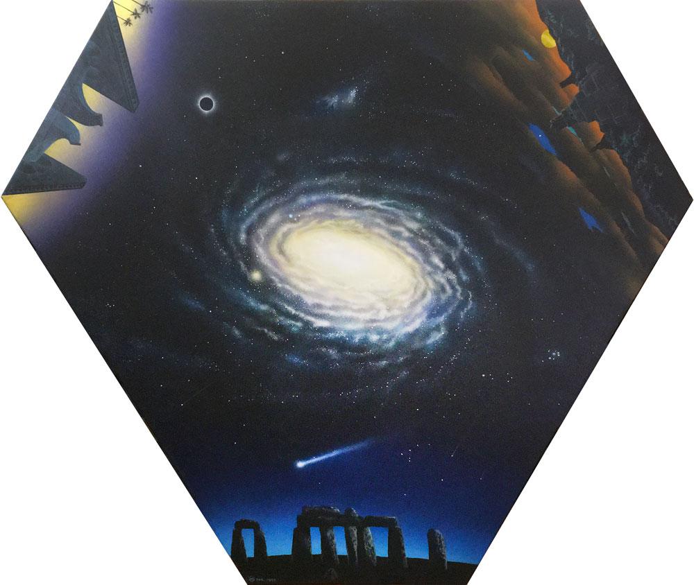 "Nicolai Larsen, Ancient Astronomers, 1993 acrylic on canvas, 55"" x 47"""